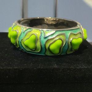 Modern Vintage Green & Silvertone Hinge Bracelet